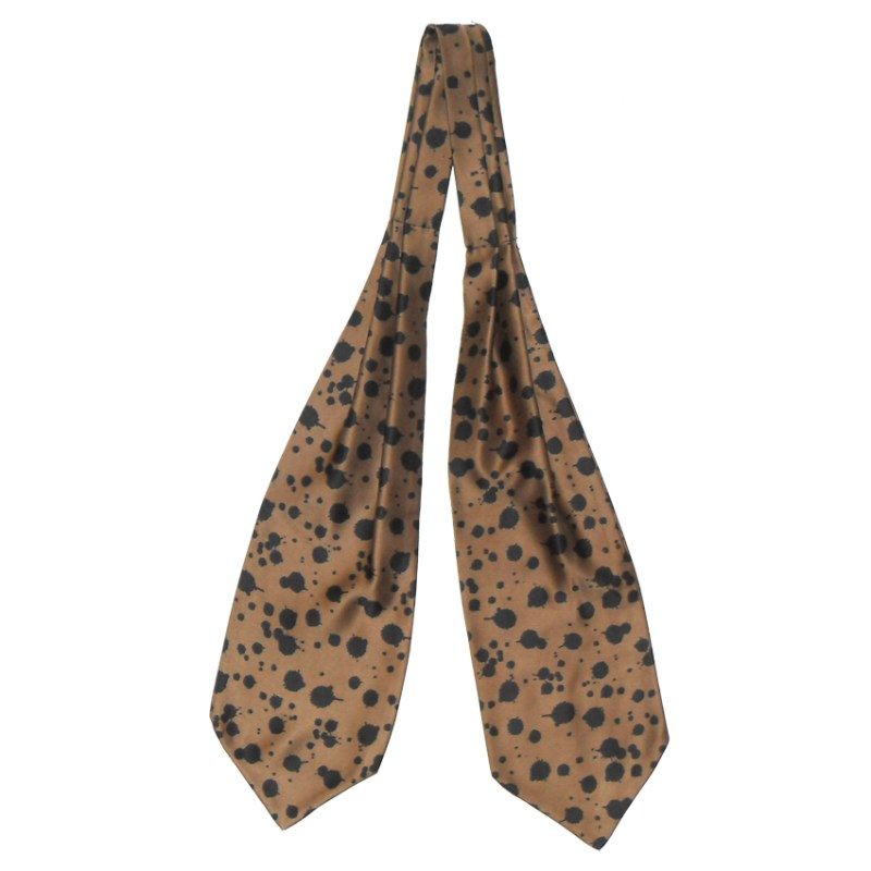 Brown background cravat with a black abstract design
