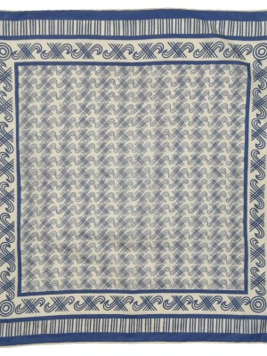 Hand rolled edge blue and white design cotton square