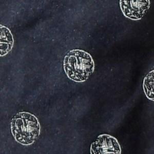 Dark blue silk tie with white circle design by Paul Smith, England