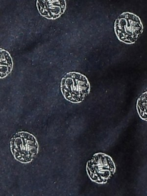 Dark blue silk tie with white circle design by Paul Smith, England