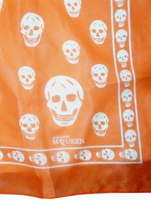 Alexander McQueen orange and white skull design scarf