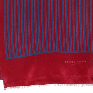 Dark red and blue striped long silk scarf by Robert Piguet