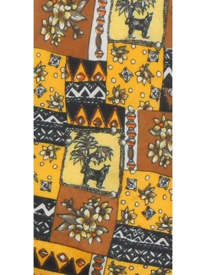 Silk tie with design of a tiger in yellow, brown, black and white