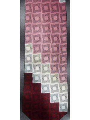 Silk satin tie with a geometric design by Stacy Adams