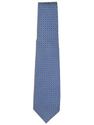 Blue background with sall white and yellow flower design silk tie by E G Cappelli