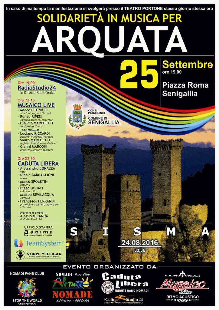 SENIGALLIA / Domenica in piazza Roma solidarietà in musica per Arquata