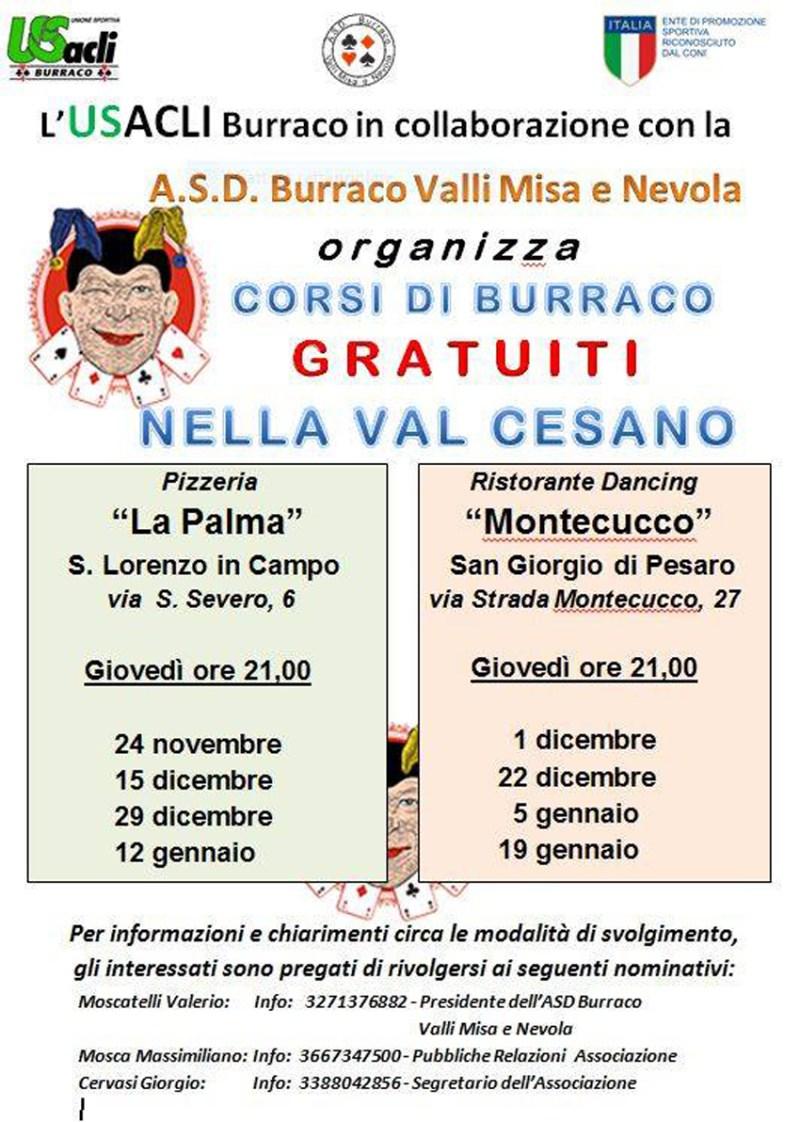 Corsi gratuiti di burraco dell'U.S. Acli a San Lorenzo in Campo e San Giorgio di Pesaro