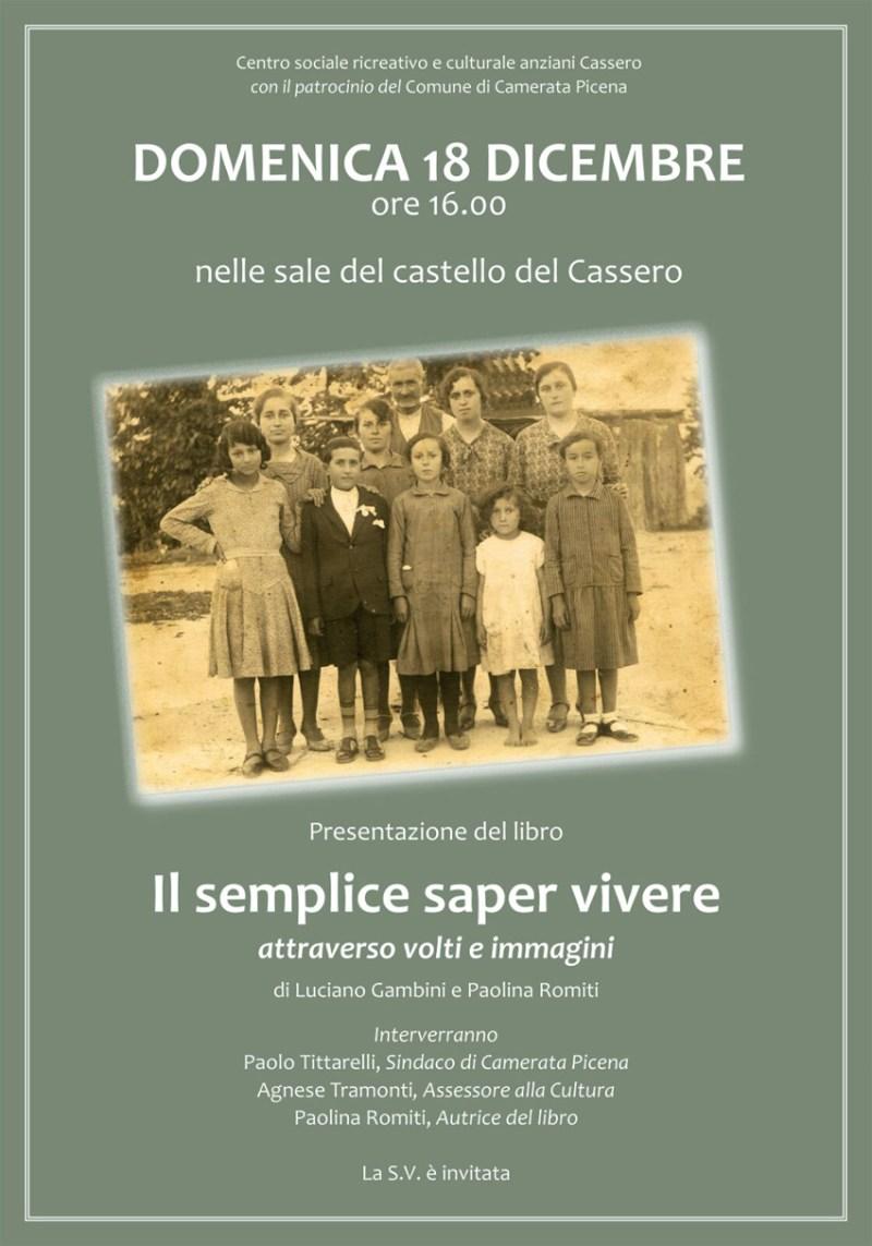 Il semplice saper vivere, in un libro uno spaccato del Cassero, piccola frazione di Camerata Picena