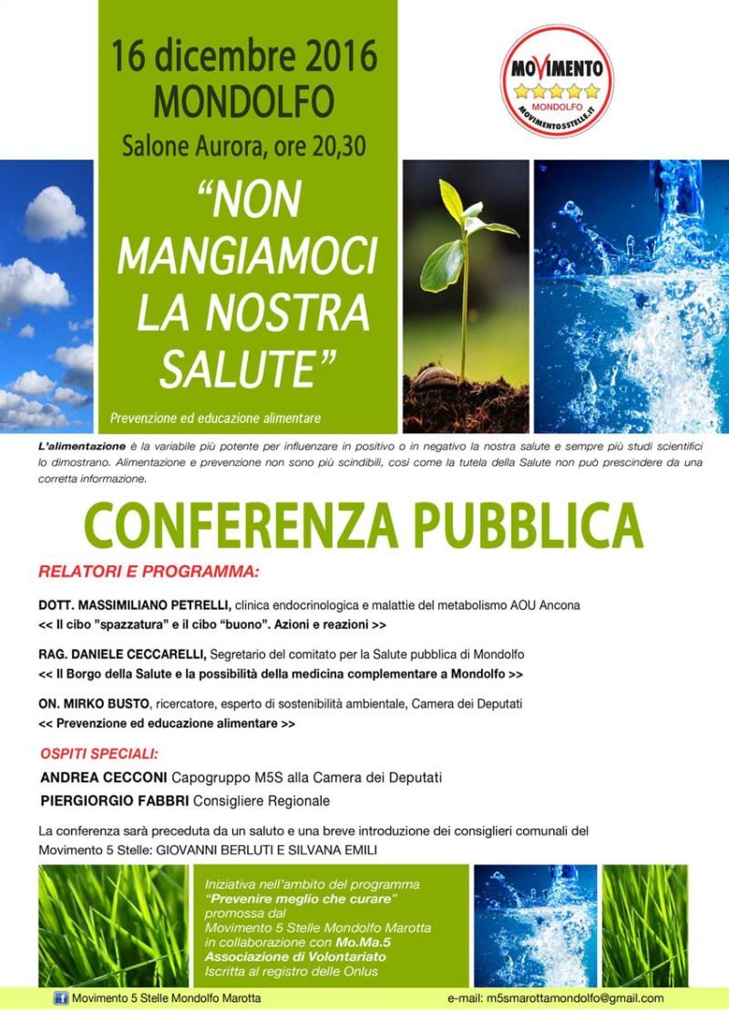 MONDOLFO / Non mangiamoci la nostra salute, venerdì sera conferenza pubblica al Salone Aurora