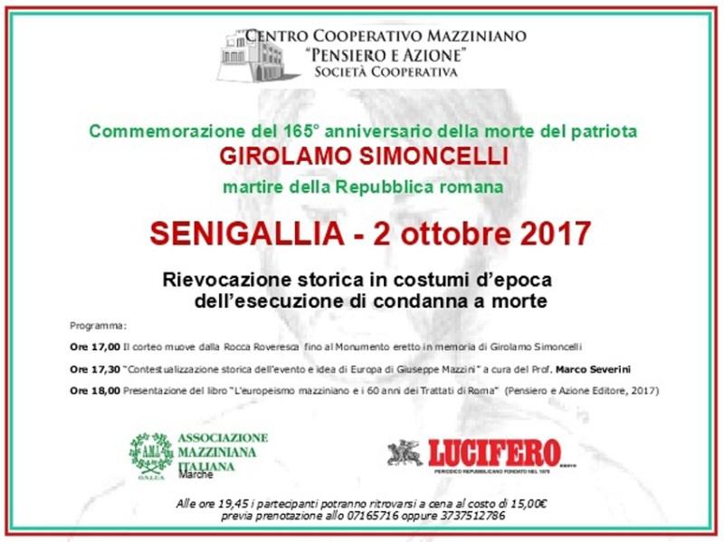 Il 2 ottobre sarà commemorato a Senigallia Girolamo Simoncelli