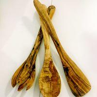 Tris Posate per cucinare in legno d' Ulivo