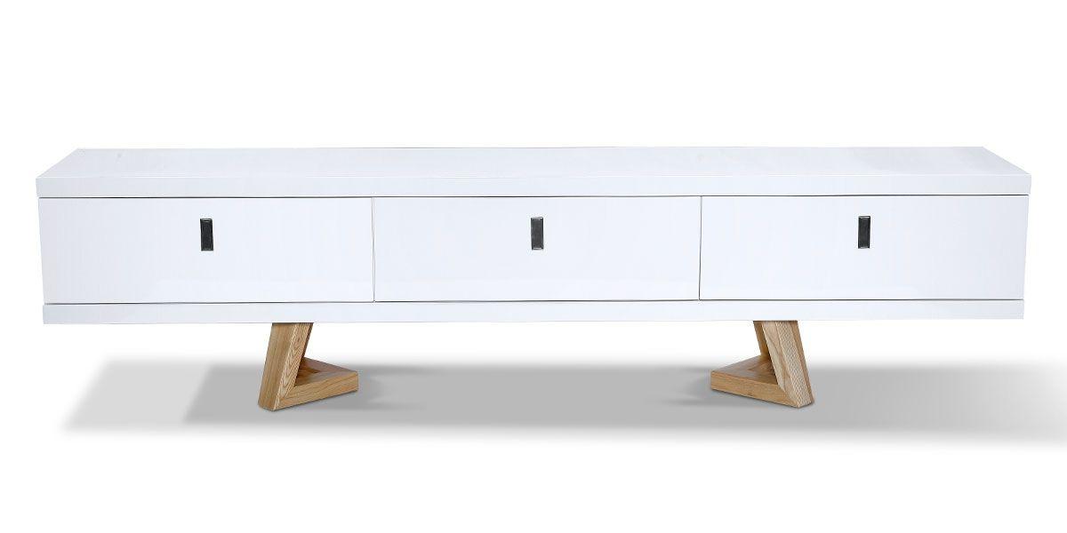 meuble tv bois laque dune frene blanc