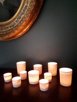 Serie de photophores en porcelaine
