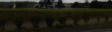 Le Chefresne : les gendarmes en hélicoptère