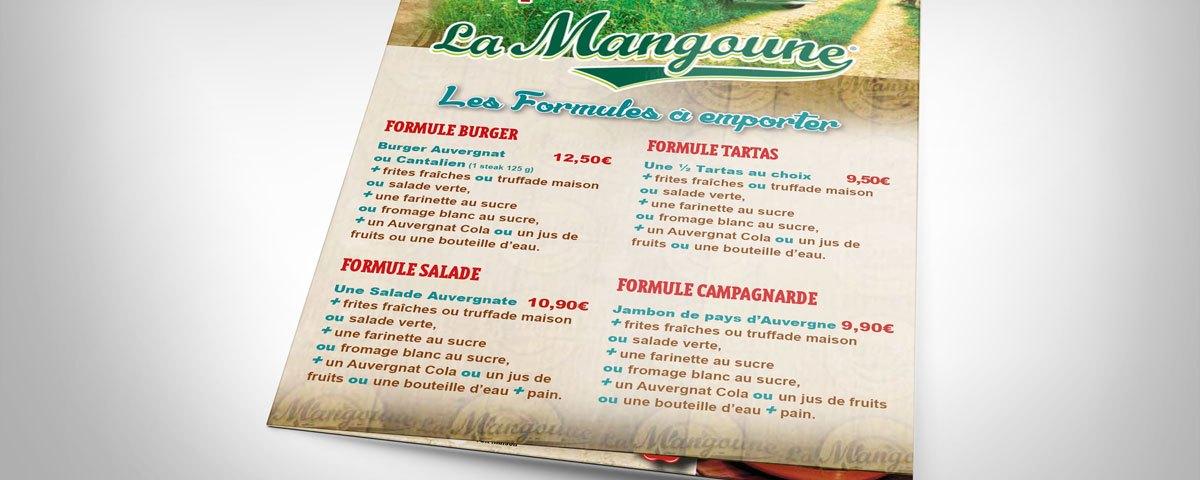 Carte à emporter La Mangoune Saint-Flour Été 2016