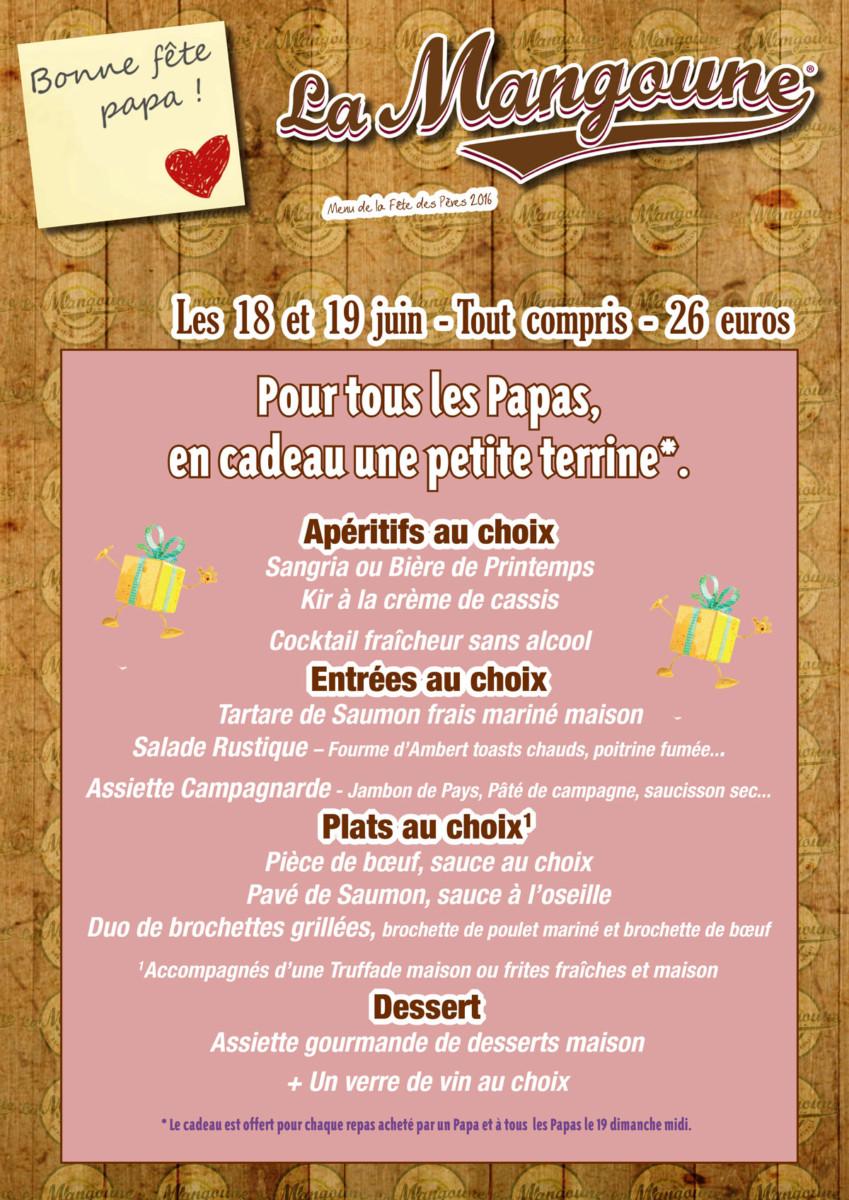 Menu « Spécial Fête des Pères » 2016 à La Mangoune Andelat/Saint-Flour