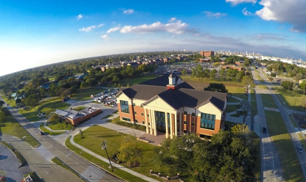 an aerial view of the Lamar University campus