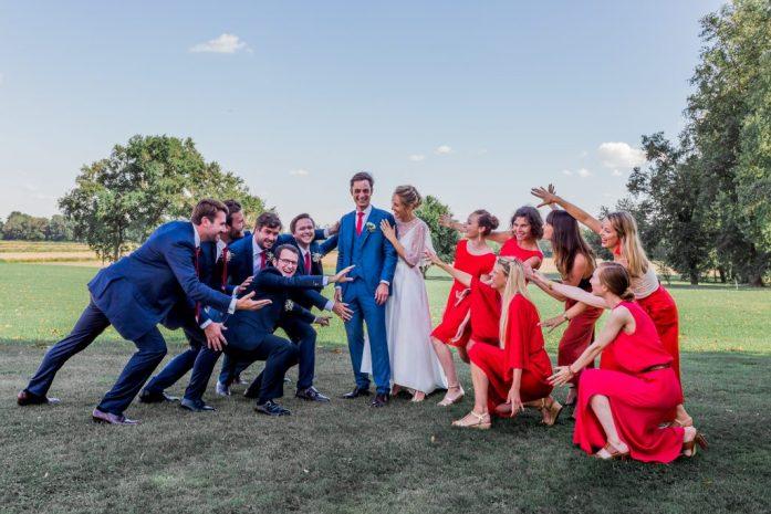 Les mariés et leurs équipes, photo de groupe