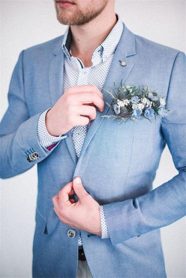 Costume marié bleu