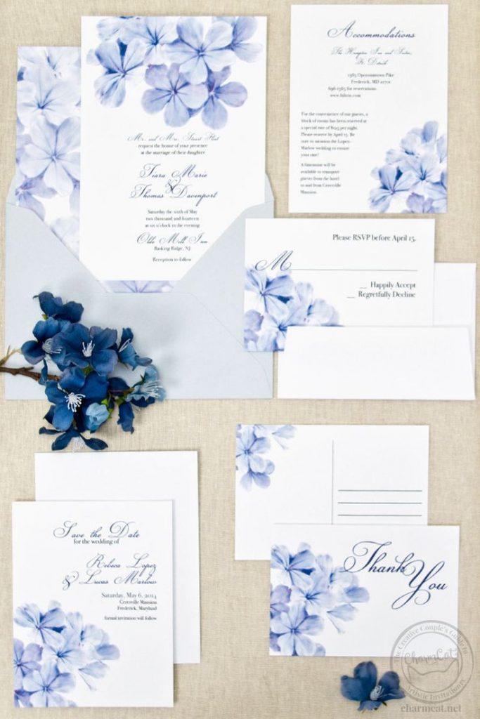 Papeterie mariage bleu