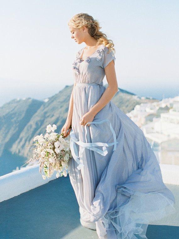robe mariée bleue