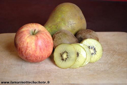 Pomme, poire et kiwis jaunes
