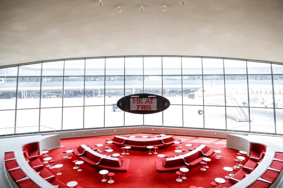 One of the seating and eating areas at the TWA Hotel.