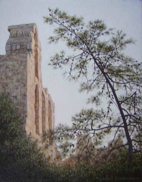 Temple and Pine Tree, Athens Oil on canvas