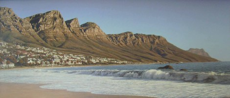 Twelve Apostles from Camps Bay Beach Oil on canvas