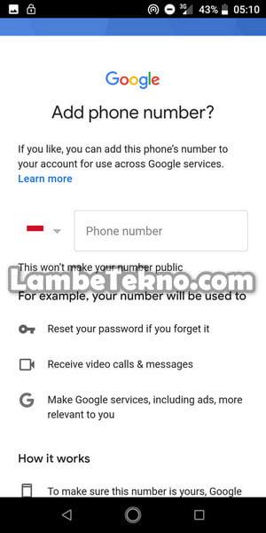 Nomor Hp Untuk Membuat Email