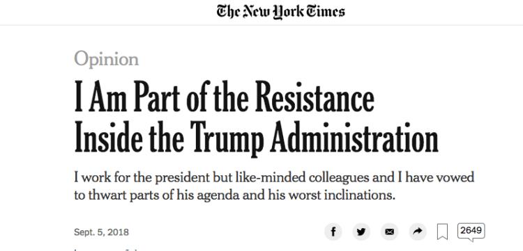 La columna de opinión en The New York Times causó revuelo inmediato en el gobierno.
