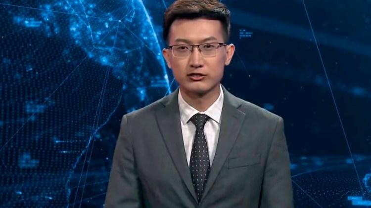 El primer presentador virtual pestañea, se mueve ligeramente y tiene una apariencia totalmente humana (Foto: @NewChinaTV)