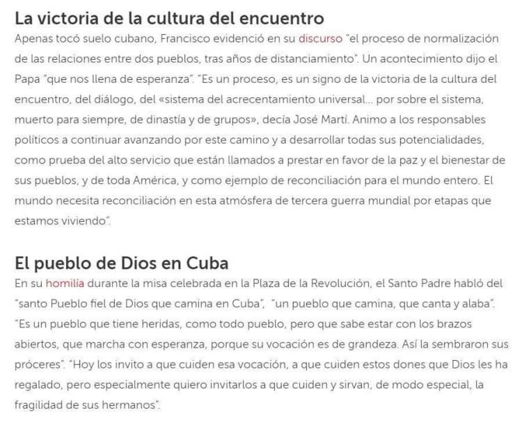 Otros fragmentos del texto eliminado de Vatican News sin explicaciones.