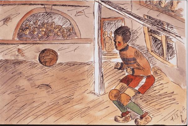 Disegno realizzato durante le riprese della partita di calcio nel 1944, dalla dodicenne Helga Weissova