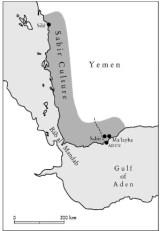 Máxima extensión de la Cultura de Sabir, año 2000-1000 a.c. por el Golfo de Aden y Timaha(t) al Yaman en el Mar Rojo. Yacimientos de Sabir, Ma'Layba y Al-Midamman. Elaborado por Görsdorf y Volft