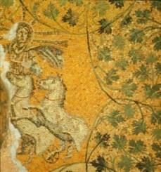 "Mosaico romano. Siglo IV d.c. aprox. Necrópolis del mausoleo ""M"" de la Basílica de San Pedro del Vaticano. Representa a Cristo como ""Deus Sol Invictus"""