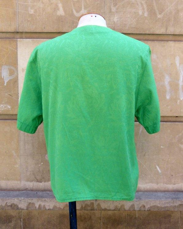 Top 60's en damasco verde y doble abotonadura