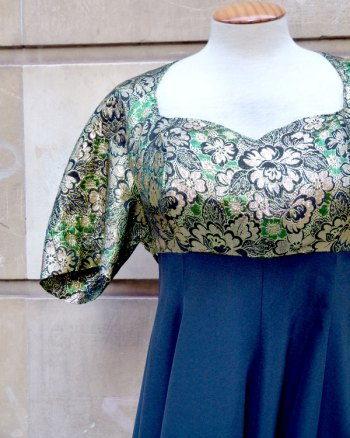 1980s Party Dress with Earth Shaped Neckline
