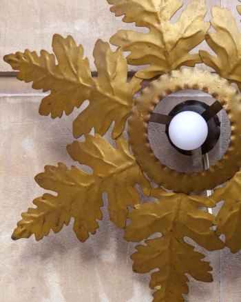 Lámpara Mid-Century de techo con hojas de Roble