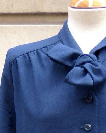1970s Blue Necktie Dress