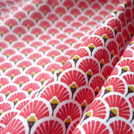 tissu japonais eventails rouge tissus
