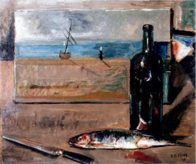 Filippo de Pisis, Pesce, bottiglia di vino e coltello su tavolo, olio su tela