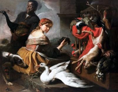 Pieter Boel, Moretto con pavone, giovane con uva e cacciagione, olio su tela