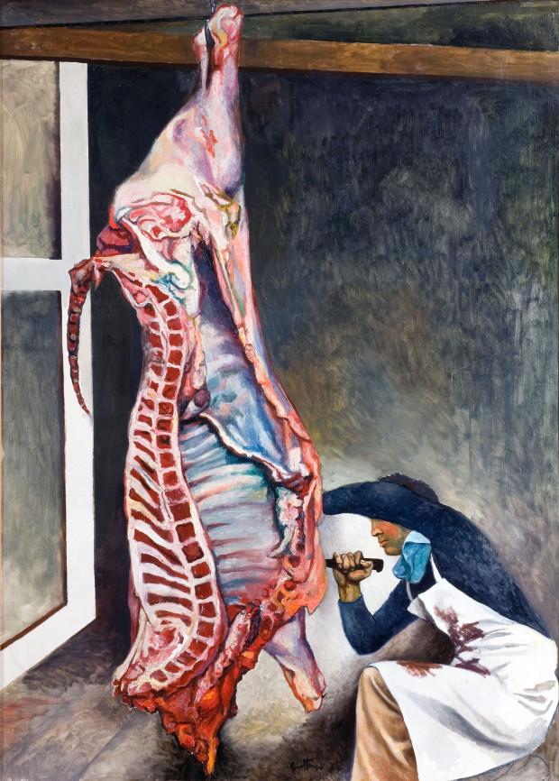 Renato Guttuso, Il macellaio (studio per la Vucciria), olio su tela