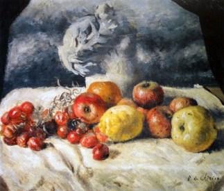 Giorgio de Chirico, Composizione di frutta con statua classica, olio su tela
