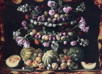 Giovanni Stanchi, Alzata con fichi, susine, pesche e meloni, olio su tela