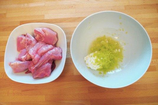 Coniglio allo yogurt, riso basmati e verdure