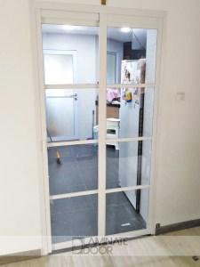 Slide & Swing Kitchen Entrance Door Clear Tempered Glass