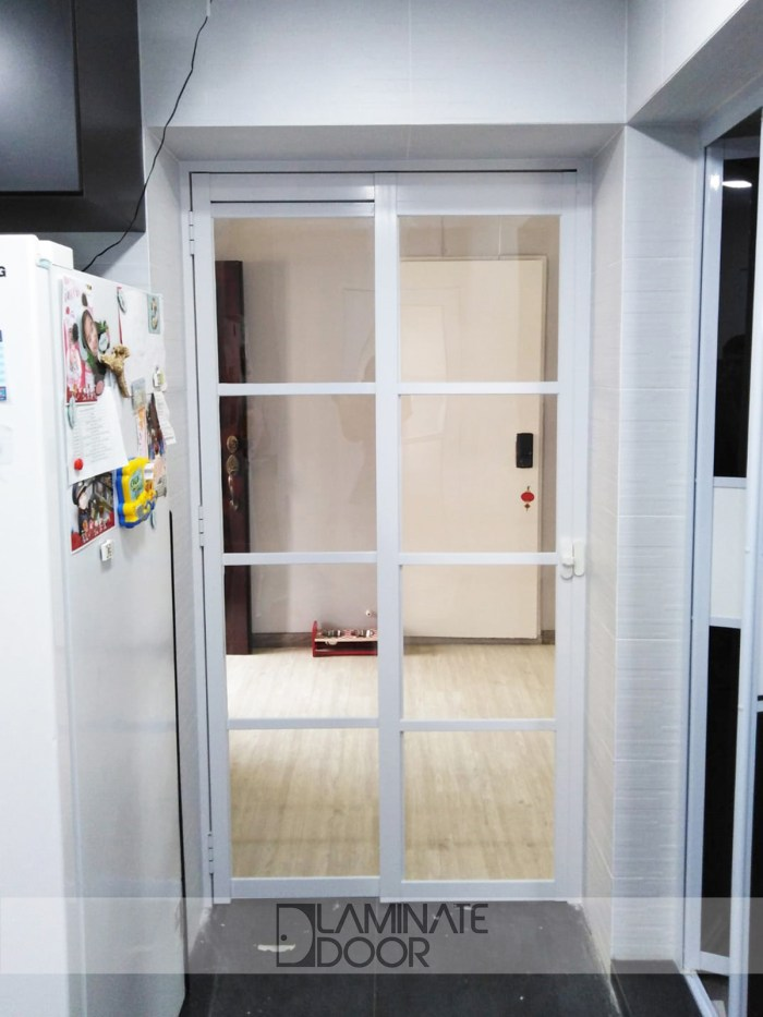 Slide & Swing Kitchen Entrance Door Clear Tempered Glass
