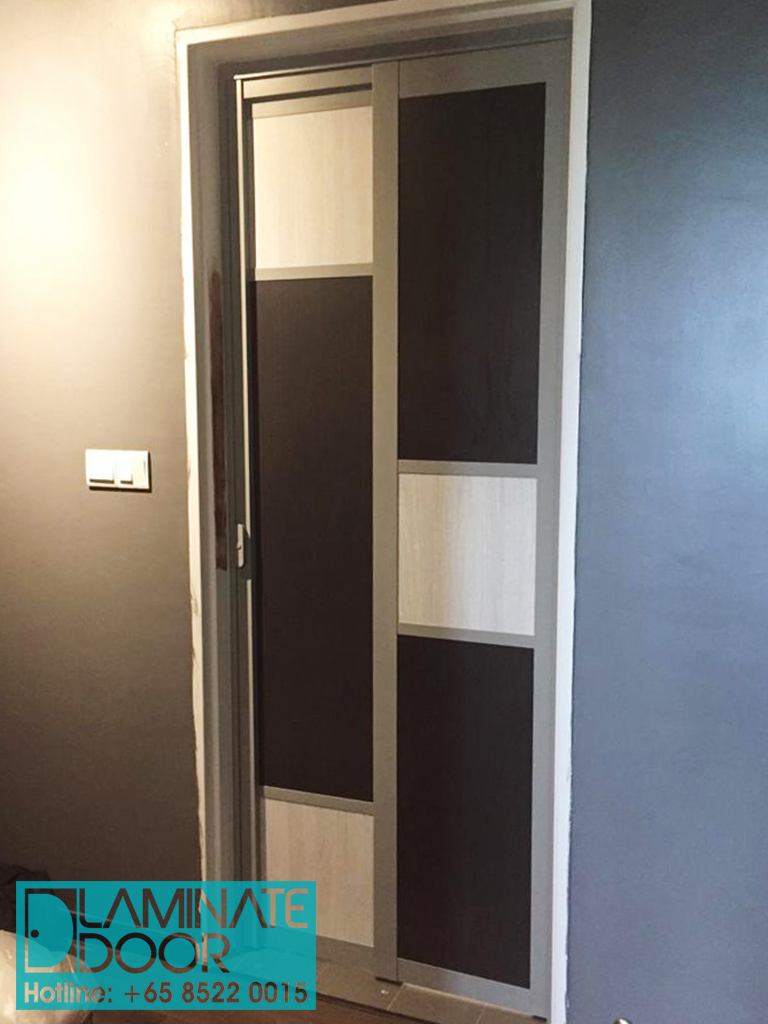 black slide & swing toilet door